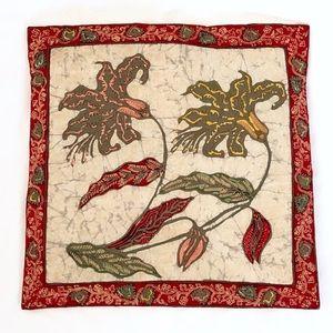 Batik floral pillow cover